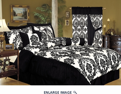 11 Piece Queen Louisa Flocking Black Bed in a Bag Set