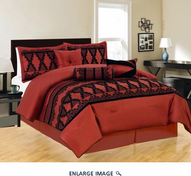 11 Piece Queen Maryland Burgundy and Black Bed in a Bag Set