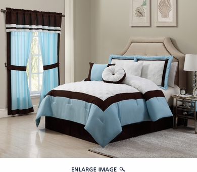 11 Piece Queen Messina Blue and White Bed in a Bag Set