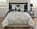 11 Piece Queen Miranda Black and Ivory Bed in a Bag Set