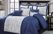 11 Piece Queen Percy Navy and Ivory Bed in a Bag w/600TC Cotton Sheet Set