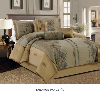 11 Piece Queen Peyton Olive and Gold Bed in a Bag w/600TC Cotton Sheet Set