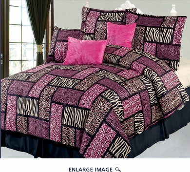 11 Piece Queen Safari Pink and Black Bed in a Bag w/500TC Cotton Sheet Set