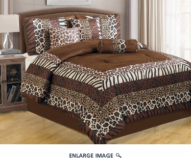 11 Piece Queen Safari Print Brown Bed in a Bag w/600TC Sheet Set