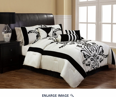 11 Piece Queen Salma Black and White Flocking Bed in a Bag Set