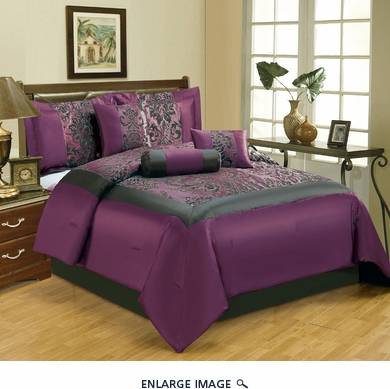 11 Piece Queen Salzburg Purple Flocked Bed in a Bag w/500TC Sheet Set
