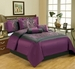 11 Piece Queen Salzburg Purple Flocked Bed in a Bag w/600TC Sheet Set