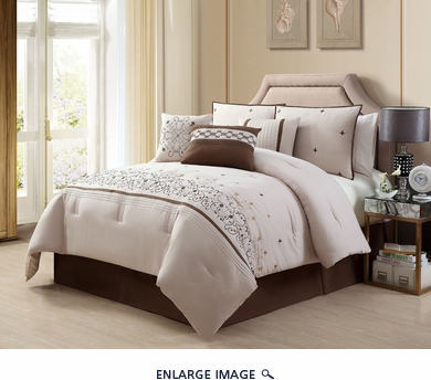 11 Piece Queen Valpico Beige and Brown Bed in a Bag w/600TC Cotton Sheet Set