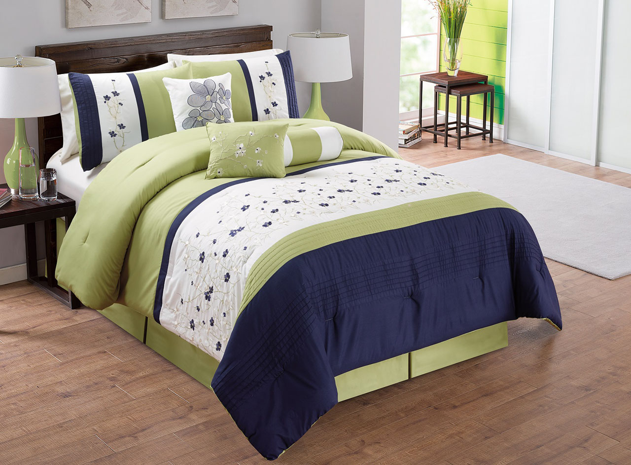 11 Piece Sage/Ivory/Navy Embroidered Bed In A Bag Set