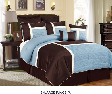 12 Piece Cal King Avondale Blue and Chocolate Bed in a Bag Set