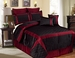 12 Piece Cal King Berne Black and Burgundy Bed in a Bag w/600TC Cotton Sheet Set