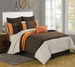 12 Piece Cal King Bloomsbury Coffee and Orange Bed in a Bag w/600TC Sheet Set
