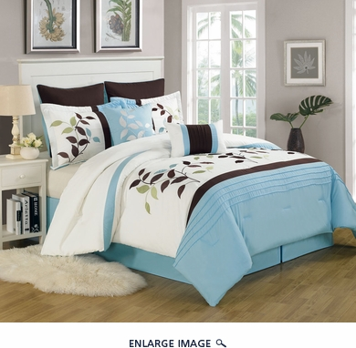 12 Piece Cal King Evie Leaf Embroidered Bed in a Bag Set