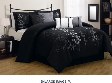 12 Piece Cal King Gatsby Black and Silver Embroidered Bed in a Bag Set