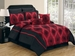12 Piece Cal King Jewel Red and Black Flocked Bed in a Bag w/600TC Cotton Sheet Set