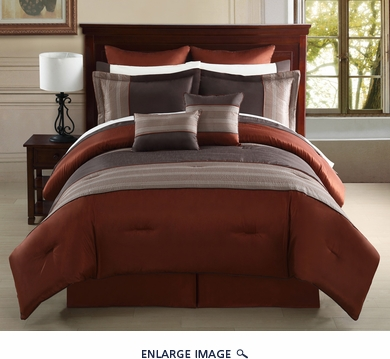 12 Piece Cal King Madden Rust and Taupe Bed in a Bag Set
