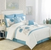 12 Piece Cal King Maisie Blue Floral Embroidered Bed in a Bag w/500TC Cotton Sheet Set