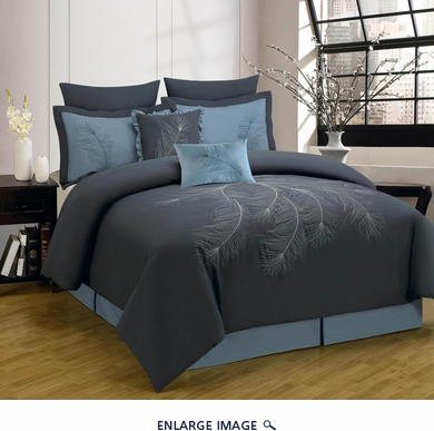 12 Piece Cal King Peoria Charcoal and Blue Bed in a Bag Set