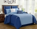 12 Piece Cal King Vienna Blue Bed in a Bag w/500TC Sheet Set