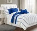 12 Piece Cal King Villa Blue and White Bed in a Bag w/500TC Sheet Set