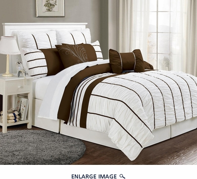 12 Piece Cal King Villa Coffee and White Bed in a Bag Set