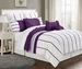 12 Piece Cal King Villa Purple and White Bed in a Bag w/500TC Sheet Set