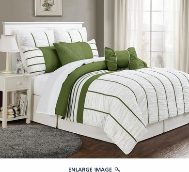 12 Piece Cal King Villa Sage and White Bed in a Bag Set