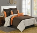 12 Piece King Bloomsbury Coffee and Orange Bed in a Bag w/600TC Cotton Sheet Set