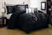 12 Piece King Gatsby Black and Silver Embroidered Bed in a Bag w/600TC Sheet Set