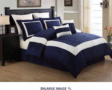 12 Piece King Luke Navy and White Embroidered Bed in a Bag w/600TC Sheet Set