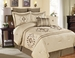 12 Piece King Pescia Beige and Taupe Bed in a Bag w/500TC Cotton Sheet Set