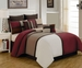 12 Piece King Picasso Burgundy Bed in a Bag w/600TC Cotton Sheet Set