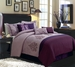 12 Piece King Vanessa Purple and Plum Embroidered Bed in a Bag w/600TC Sheet Set
