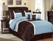 12 Piece Queen Avondale Blue and Chocolate Bed in a Bag w/600TC Cotton Sheet Set