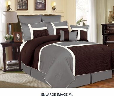 12 Piece Queen Avondale Chocolate and Gray Bed in a Bag Set