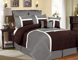 12 Piece Queen Avondale Chocolate and Gray Bed in a Bag w/600TC Cotton Sheet Set