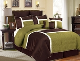 12 Piece Queen Avondale Sage and Chocolate Bed in a Bag w/600TC Cotton Sheet Set