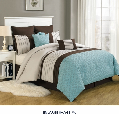 12 Piece Queen Beaufort Aqua and Beige Bed in a Bag Set