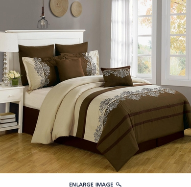 12 Piece Queen Coloma Embroidered Bed in a Bag w/600TC Cotton Sheet Set