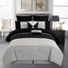12 Piece Queen Dicus Black and Gray Bed in a Bag w/600TC Cotton Sheet Set