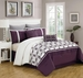 12 Piece Queen Ellis Purple and White Bed in a Bag w/600TC Cotton Sheet Set
