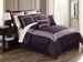 12 Piece Queen Felicia Purple Embroidered Bed in a Bag Set