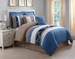12 Piece Queen Jolene Blue and Taupe Bed in a Bag Set