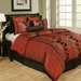 12 Piece Queen Laurel Flocked Bedding Bed in a Bag Set