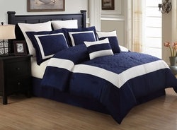 12 Piece Queen Luke Navy and White Embroidered Bed in a Bag w/600TC Sheet Set