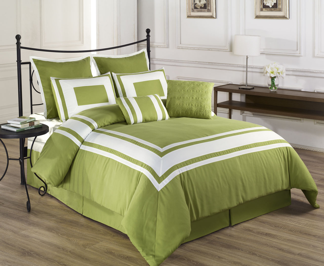 12 Piece Lux Dcor Pistachio Green Bed In A Bag Set