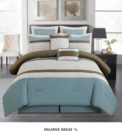 12 Piece Queen Lynch Blue Bed in a Bag Set
