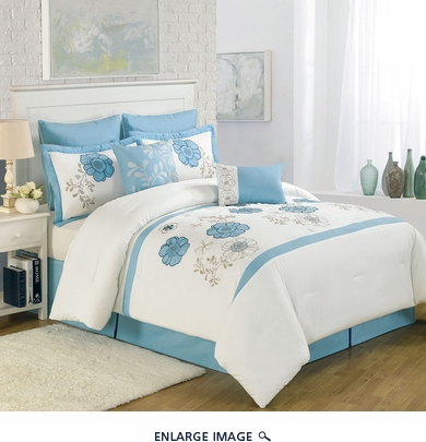 12 Piece Queen Maisie Blue Floral Embroidered Bed in a Bag w/500TC Cotton Sheet Set