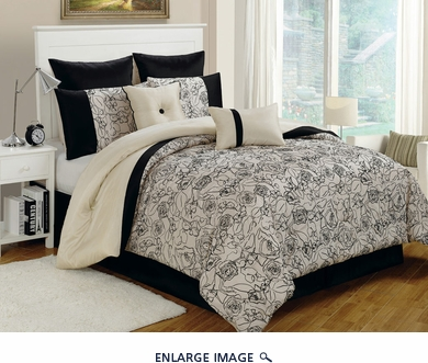 12 Piece Queen Miranda Black/Ivory Bed in a Bag Set