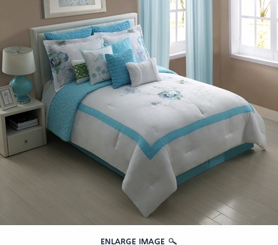 12 Piece Queen Peonies Blue Embroidered Comforter Set